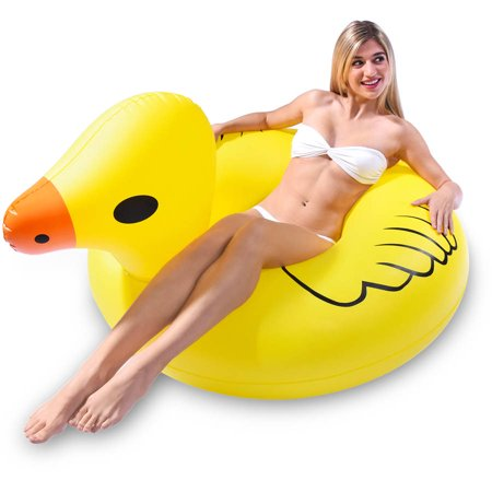 GoFloats Duck Party Tube Inflatable Swimming Pool Raft, Float In Style (for...