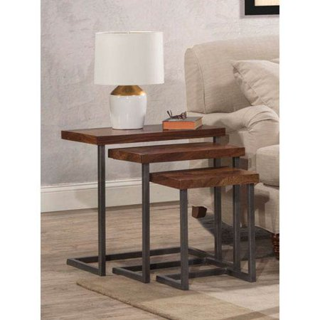 Hillsdale Furniture Emerson Nesting Tables - Set of 3, Natural Sheesham Wood / Gray (Sheesham Wood Pedestals)