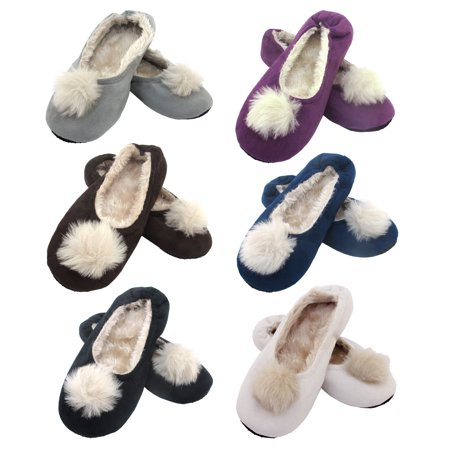 Adult Comfy Warm Fuzzy Rabbit Pompom NonSkid Home Slippers - 6 Pairs, Medium - Asst B - Next Rabbit Slippers