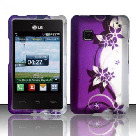 Design Rubberized Hard Case Cover for LG 840G - Purple Silver Vine (Lg 840g Jelly Case)
