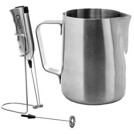 Ozeri Deluxe Milk Frother and 12 oz Frothing Pitcher in Stainless