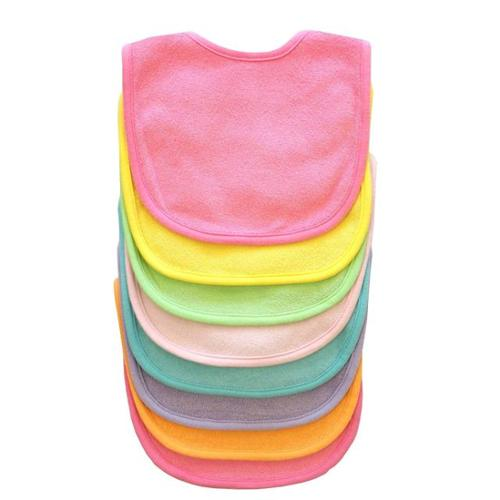 Neat Solutions 8 Pack Multi-Color Solid Knit Terry Feeder Bib - Girl