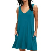 Summer Casual Pocket Tank Dress for Women V Neck Plain Swing Dress Party Holiday Sexy Short Dress Ladies Oversized Beach Cover Up