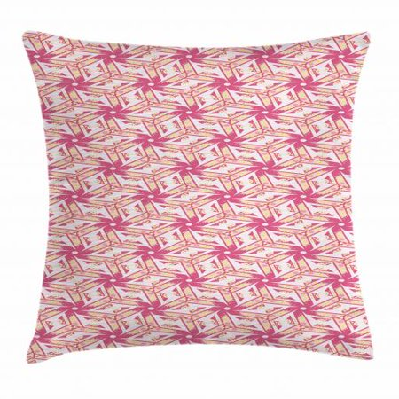 Pinwheel Throw Pillow Cushion Cover, Floral Style Curved Lines with Yellow Spots Distressed Effect in Retro Style, Decorative Square Accent Pillow Case, 18 X 18 Inches, Pink and Yellow, by -