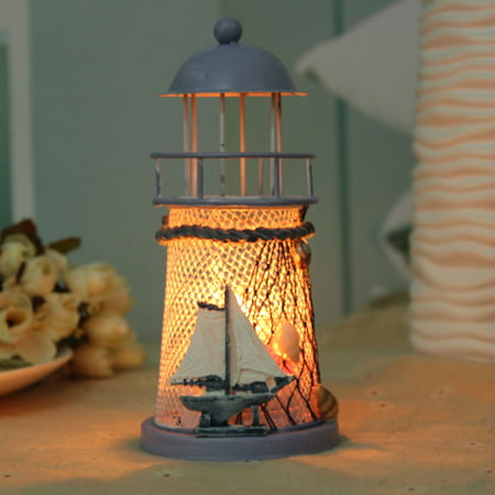 - Vintage Lighthouse Candle Holder Mediterranean Style Candlestick Iron House Christmas Ornaments Home Decor (Random Pattern)