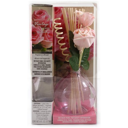 Fragranced Reed Diffuser with Decorative Reeds, 6 oz Vintage Rose Fragrance