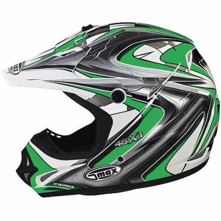 G-Max G980272 Visor for GM46X-1 Core Graphic Helmets - Md-3XL - White/Green/Silver/Black