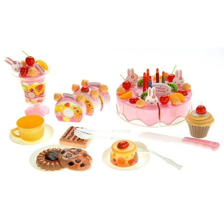 Play Birthday Cake - 75-piece Birthday Cake Pretend Play Food Toy Set
