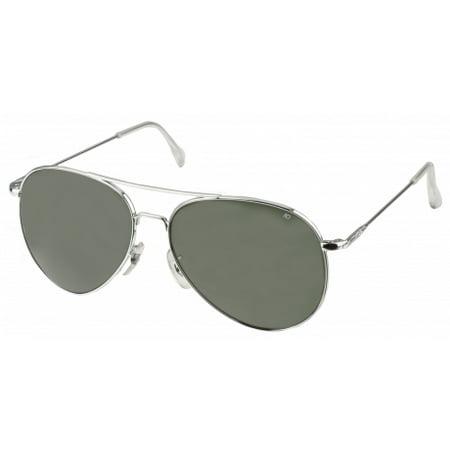 Gear Sunglasses (AO Flight Gear General Sunglasses, Wire Spatula, Silver Frame, Green Glass)