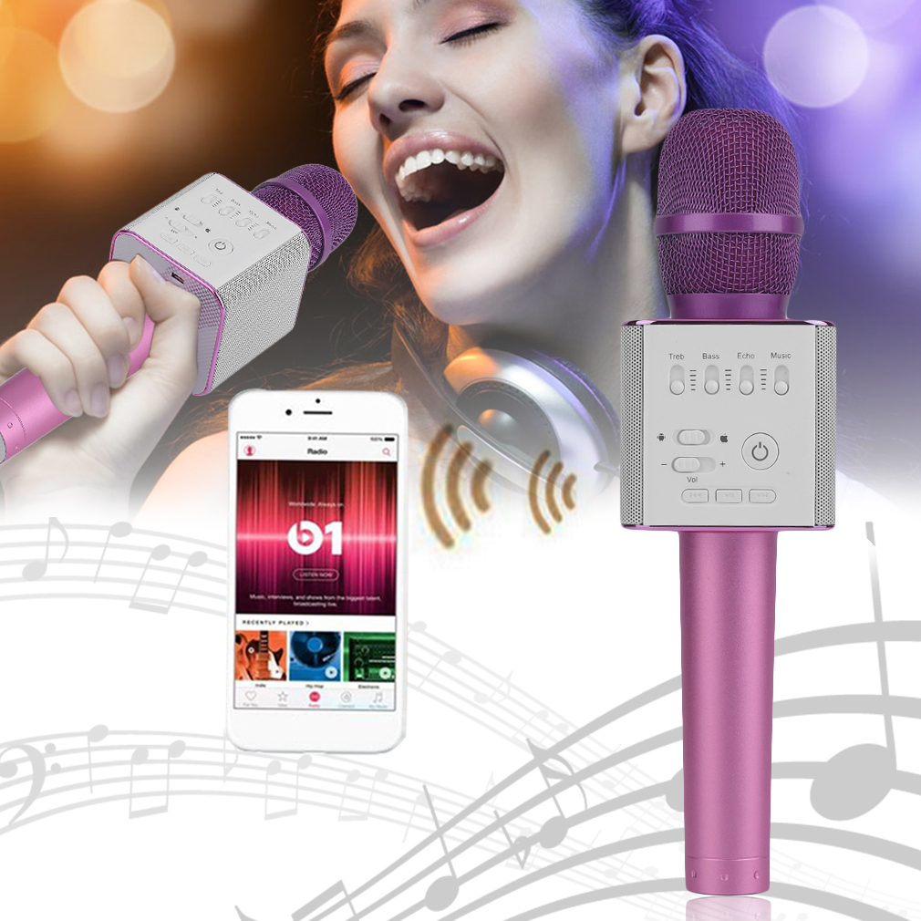 Microphone,Handheld Q9 Bluetooth Wireless Microphone Karaoke Microphone Speaker Portable Handheld Wireless Microphone Home KTV Pink