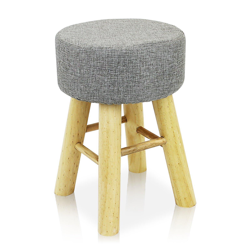 DL furniture - Round Ottoman Foot Stool, 4 Leg Stands Round Shape ,Long Leg | Linen Fabric, Gray Cover