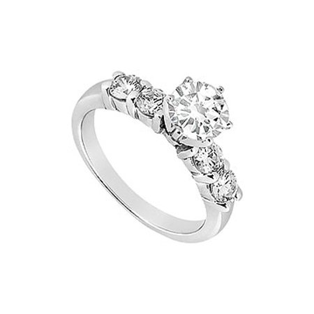 Engagement Ring in 14K White Gold Cubic Zirconia of 0.75 Carat Total Gem Weight - image 1 de 2
