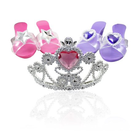 Princess Tiara Dress-up Costume Shoes Toys 2 Shoe Sets For Girls Princess Dress