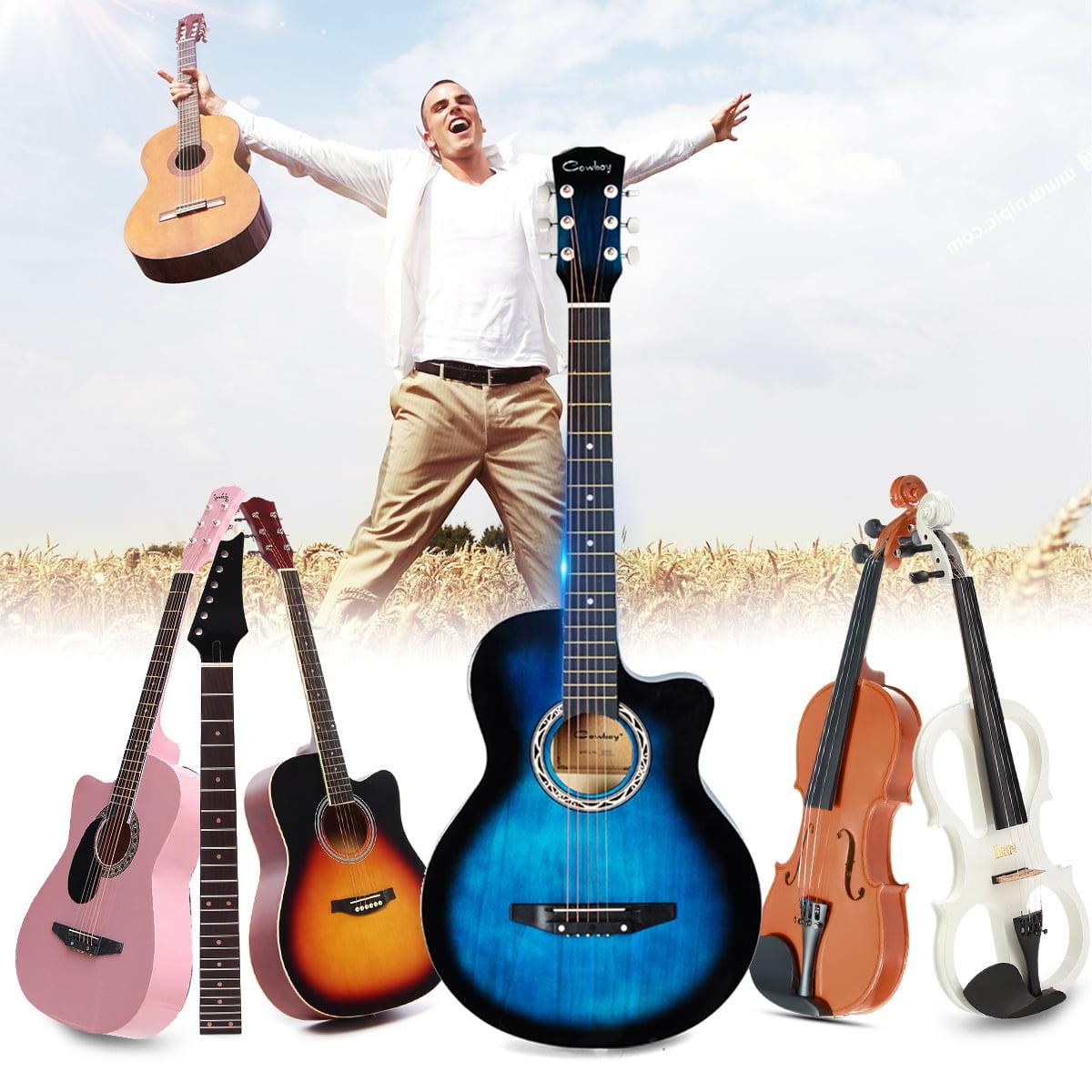 38 6 string folk acoustic guitar basswood with bag for beginners musical instruments music. Black Bedroom Furniture Sets. Home Design Ideas