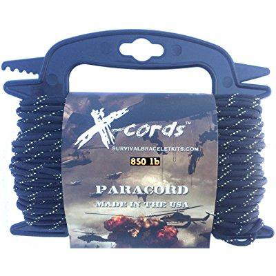 x-cords paracord 850 lb stronger than 550 and 750 made by us government certified contractor (100' black diamond kevlar on spool) - Clip On Shoe Laces