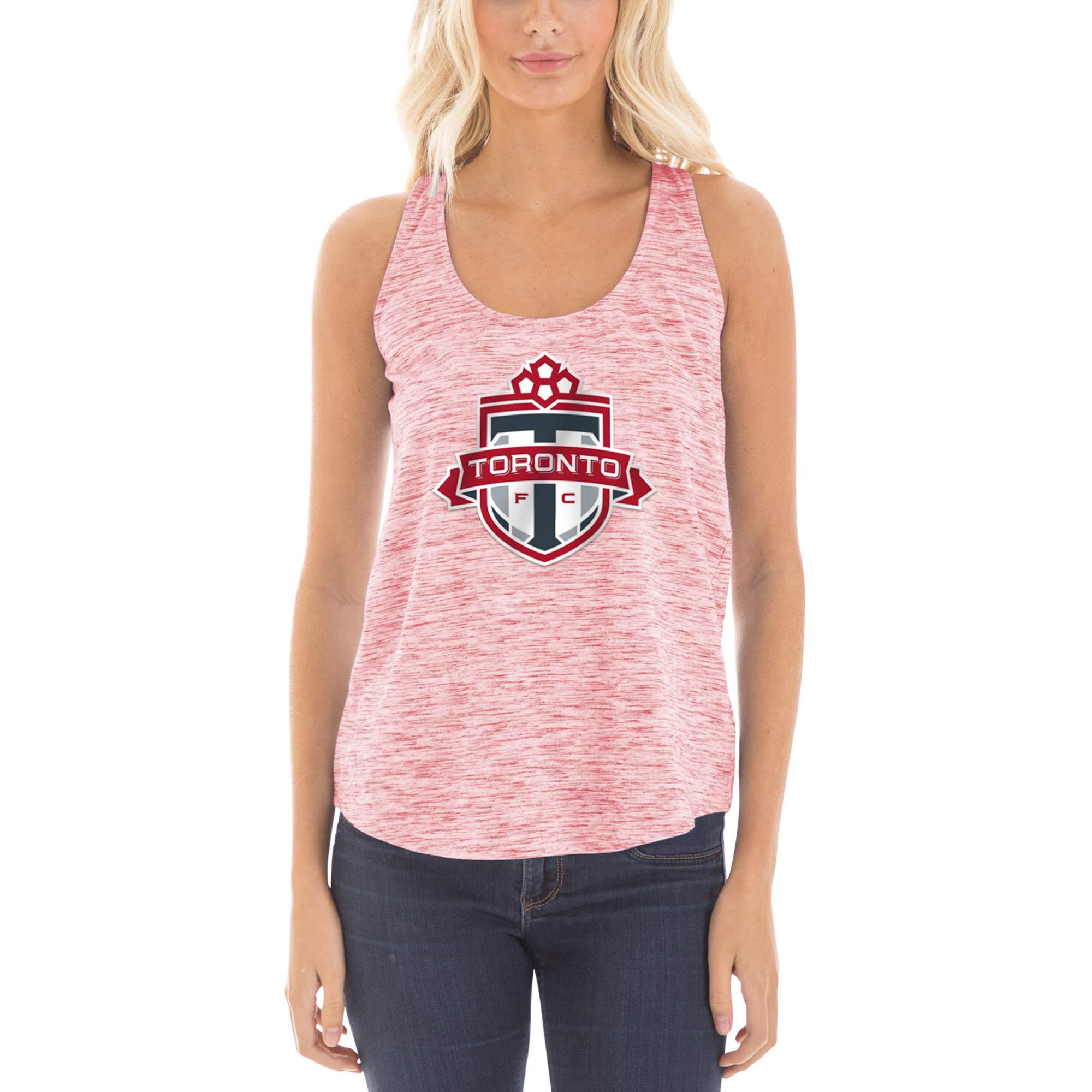 Toronto FC 5th & Ocean by New Era Women's Novelty Space Dye Jersey Racerback Tank Top - Heathered Red