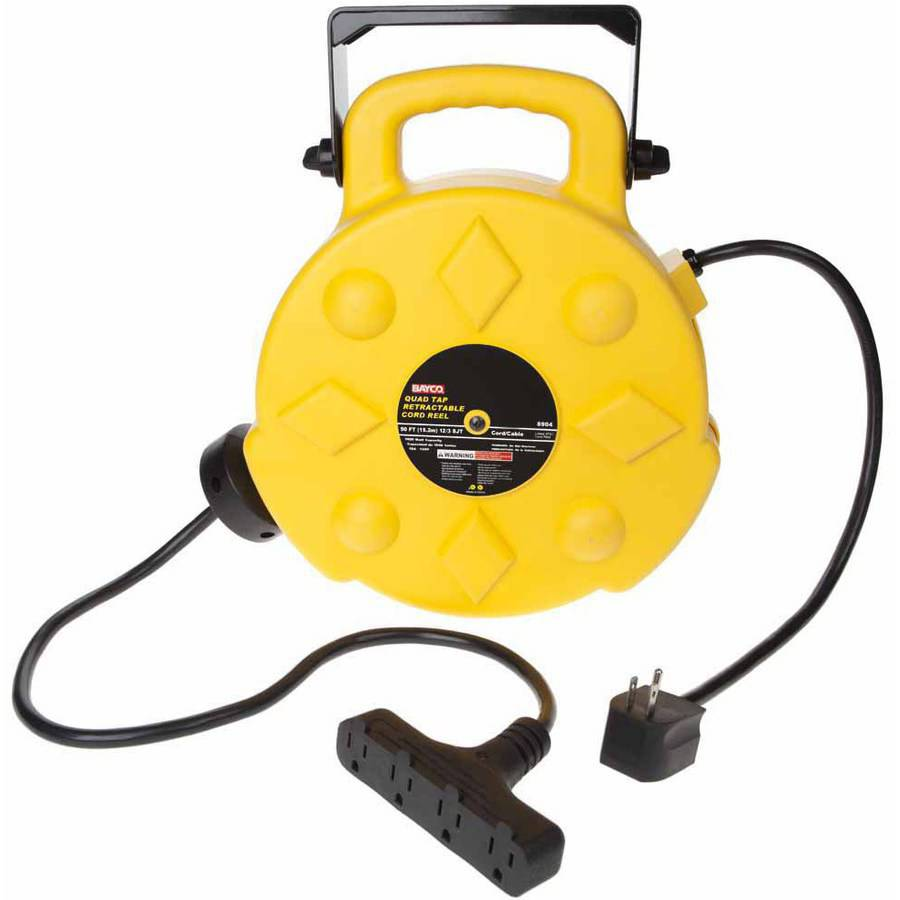Bayco SL-8904 Professional 15A 50' Retractable Cord Reel, 4 Outlets