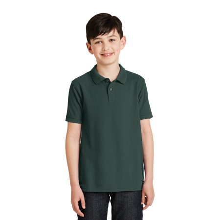 Port Authority® Youth Silk Touch™ Polo.  Y500 Dark Green S - image 1 of 1