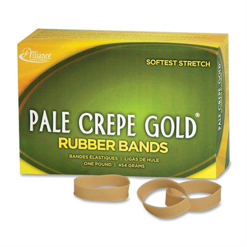 "Pale Crepe Gold Rubber Band Size 82 1LB 2-1/2""X1/2"" Approx. 320/Box 20825"