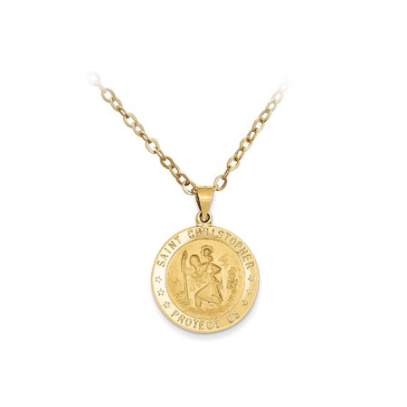 Pori Jewelers 14K Sold Gold Saint Christopher Medallion pendant Necklace BOXED (Lion Medallion Necklace)