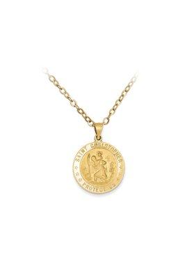 Pori Jewelers 14K Sold Gold Saint Christopher Medallion pendant Necklace BOXED
