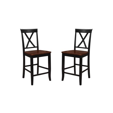 Prime Emerald Home Belmar Antique Cherry And Black 24 Bar Stool With All Wood Frame X Back And Contrasting Seat Set Of Two Squirreltailoven Fun Painted Chair Ideas Images Squirreltailovenorg