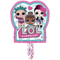 LOL Surprise Pinata, Pull String, Pink & Teal, 18in x 21.75in, 1ct