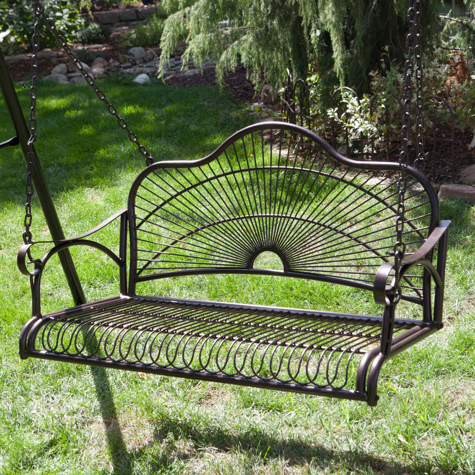 International Caravan Sun Ray 4-ft. Curved Back Metal Porch Swing