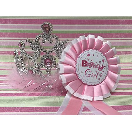 Birthday Girl Badge with Princess Tiara Gift Party Supplies 2 Piece
