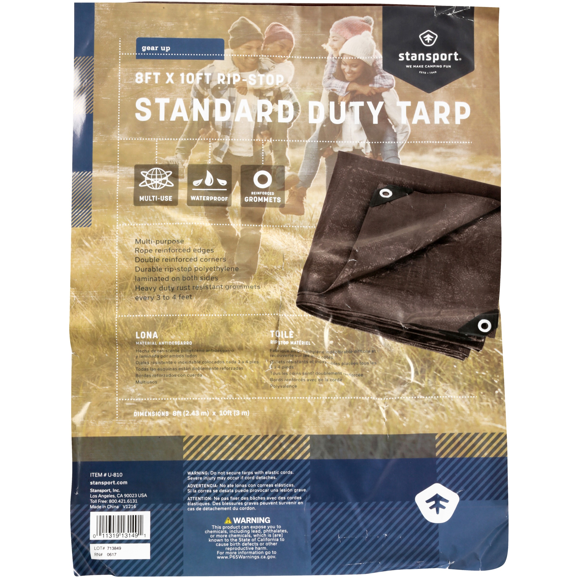 Stansport U-810 Rip Stop Tarp - 8 Ft X 10 Ft - Brown - Standard Duty