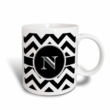 3dRose Black and white chevron monogram initial N, Ceramic Mug, 11-ounce](Monogrammed Cups)
