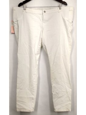 Liz Lange Maternity Plus Size Jeans XXL Front Zippered Pocketed White