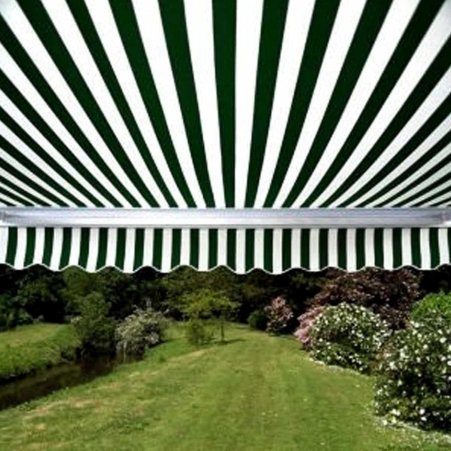 ALEKO Retractable Motorized Patio Awning, 20' x 10', Green and White Stripe