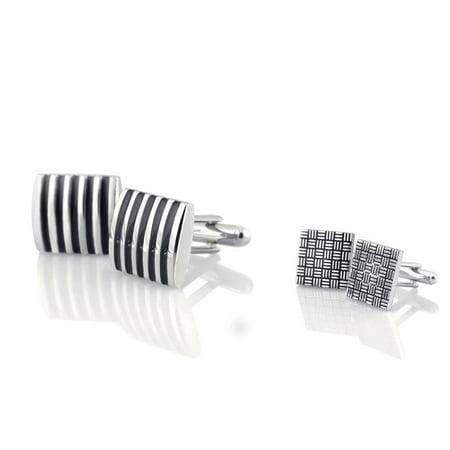 Classic Square Cufflinks - 2 Pairs High Quality Classic Cufflinks Cuff Links Silver Formal Shirt Square