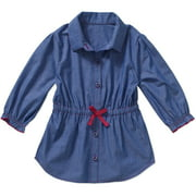 Toddler Girls' Cinched Waist Chambray Woven Tunic Top