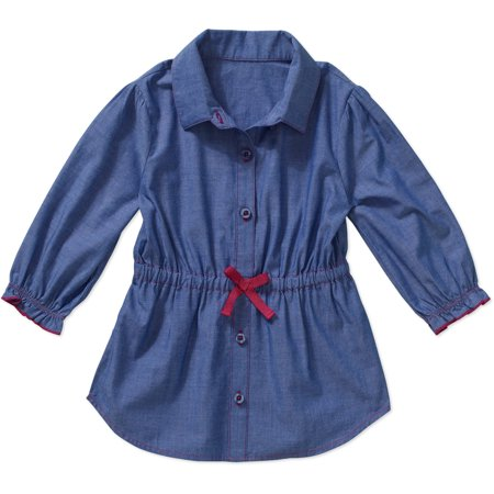 Healthtex Toddler Girls' Cinched Waist Chambray Woven Tunic Top