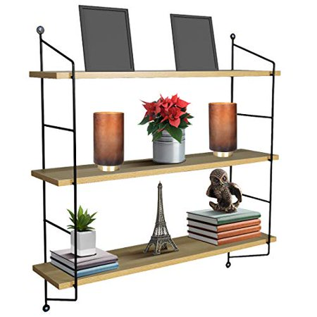 Sorbus 3 Tier Shelves, For Photos, Decorative Items, and Much More - (Maple Wood)