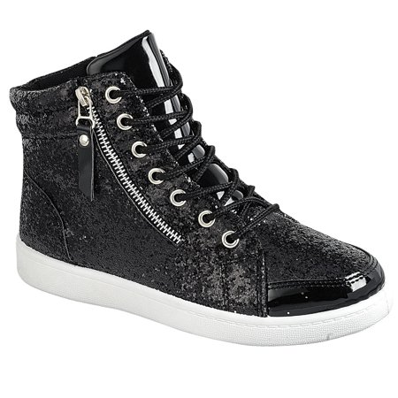 Women's Lace Up Glitter High Top Round Toe Fashion Sneaker (FREE SHIPPING)