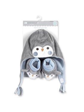 Petite L'amour Newborn Hat and Bootie Set - Blue Penguin
