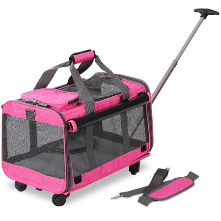 KOPEKS Pet Carrier with Detachable Wheels for Small and Medium Dogs & Cats - Heather Pink ()