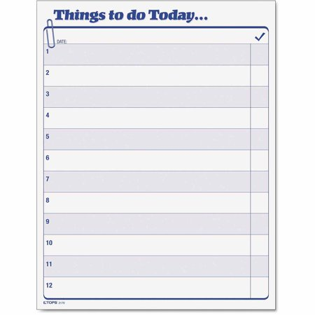 TOPS Things To Do Today Daily Agenda Pad 85 x 11 100 Forms – Daily Agenda