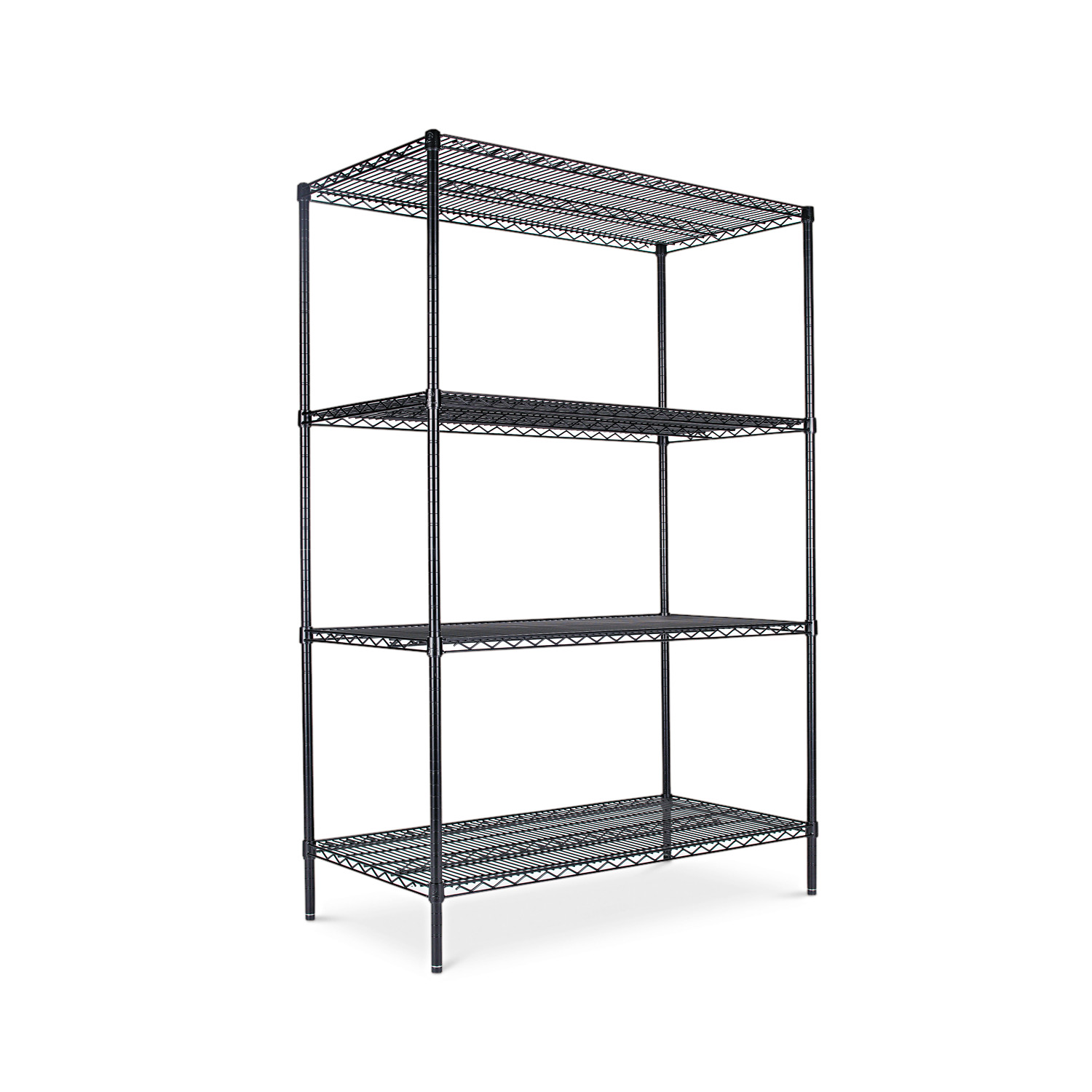 Alera Industrial Heavy-Duty Wire Shelving Starter Kit, 4-Shelf, 48w x 24d x 72h, Black by ALERA