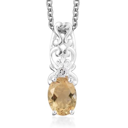 "Citrine White Topaz 925 Sterling Silver Fashion Chain Pendant Necklace 20"" 0.9 Cttw"