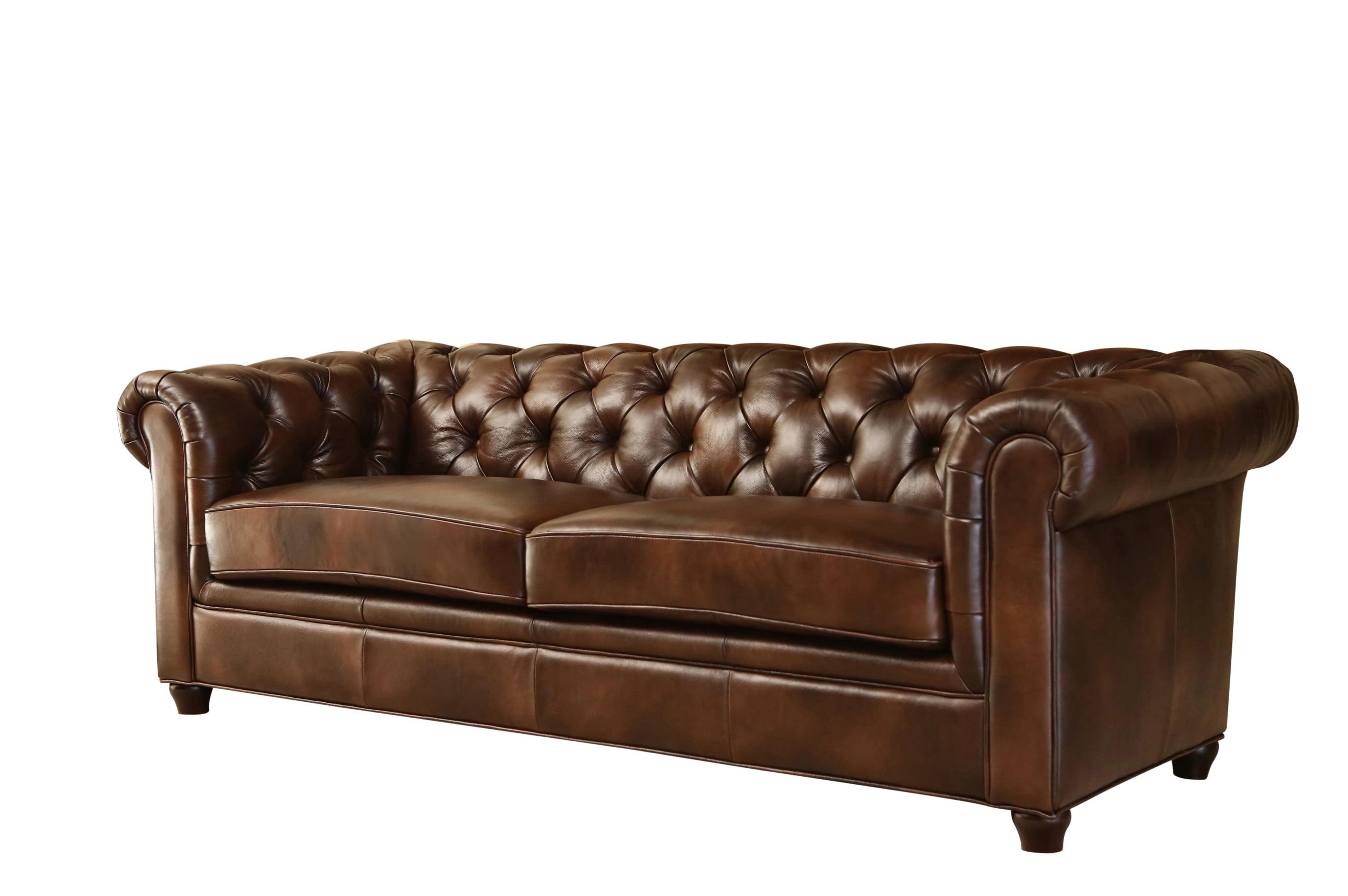 Devon & Claire Monet Tufted Premium Italian Leather Sofa, Brown
