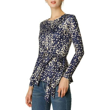 Women's Floral Prints Waist Tie Peplum Long Sleeve Top M Dark Blue Elastic Waist Long Sleeve Skirt