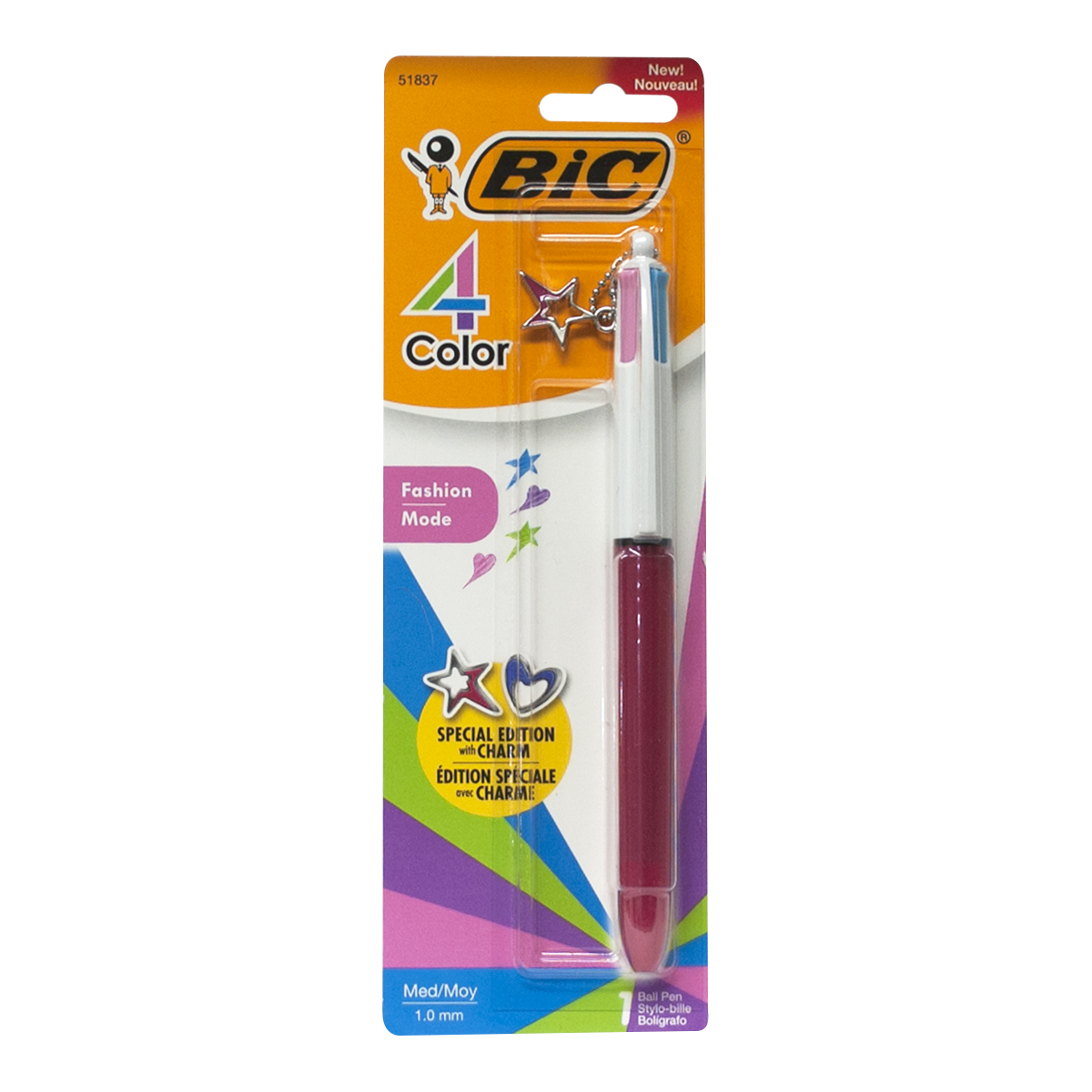 Bic 4-Color Multi-Ink Ballpoint Pen with Charm, Medium Point 1.0mm, Pink Barrel