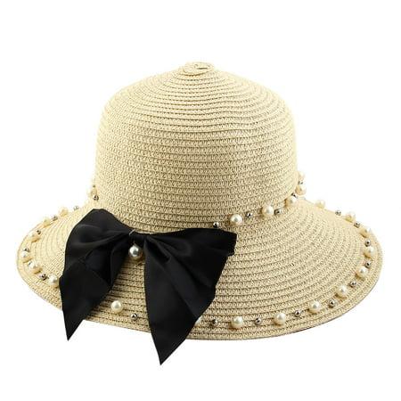 Straw Pith Helmet (Women Lady Straw Imitation Pearl Decor Brimmed Beach Hat Topee Floppy)