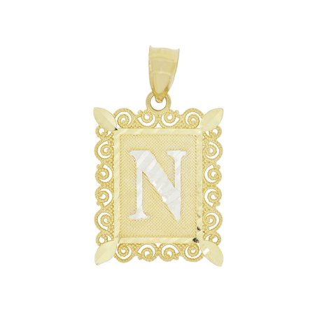 14k White Gold Initial Charm - 14k Yellow Gold White Rhodium, Initial Letter N Pendant Charm Sparkling Filigree 16mm Wide