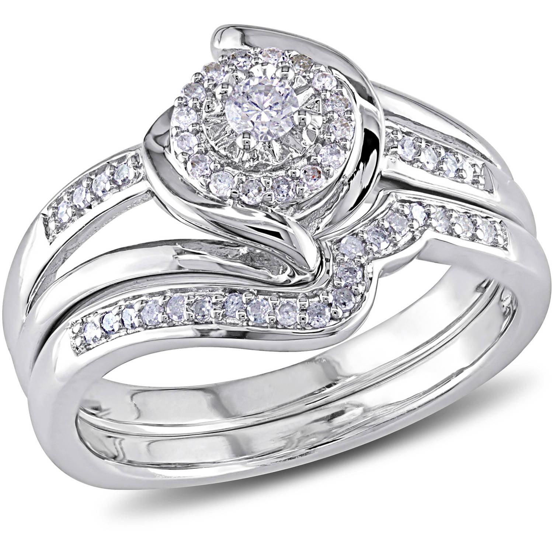 Miabella 1 4 Carat T.W. Diamond Sterling Silver Halo Twist Bridal Set by Delmar Manufacturing LLC
