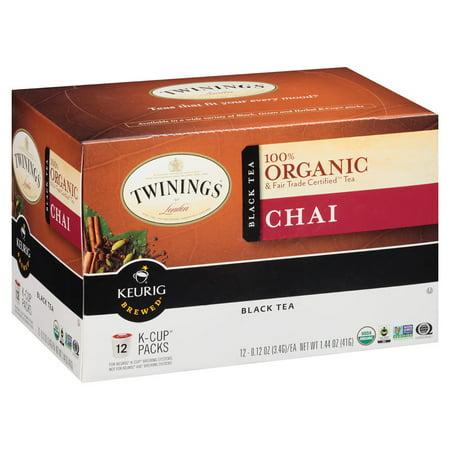 Twinings Chai Tea, Organic, K Cups, 12